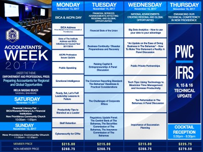 Accountants' Week Schedule 2017-  Nassau (Register Online at  http://bicaevents.org/